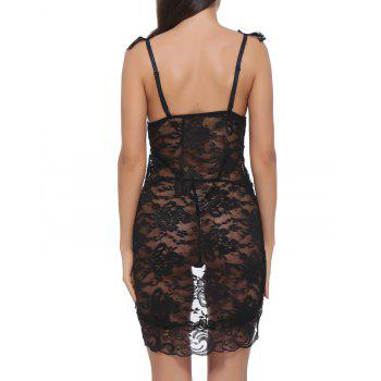 BELLZIVA Women Sexy  Lace See Through Teddy Lingerie Two Piece Babydoll Mini Bodysuit - BLACK S