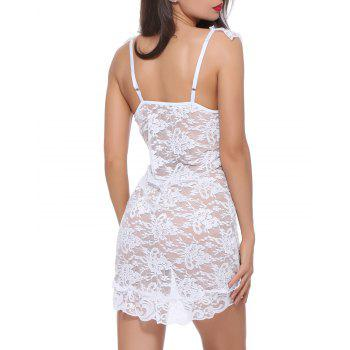 BELLZIVA Women Sexy  Lace See Through Teddy Lingerie Two Piece Babydoll Mini Bodysuit - WHITE XL