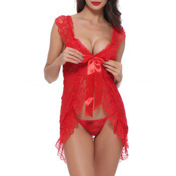 BELLZIVA Women Sexy  Lace See Through Teddy Lingerie Two Piece Babydoll Mini Bodysuit - RED M
