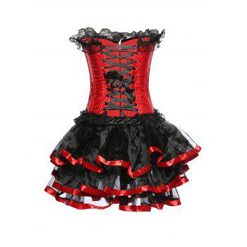 Gothic Halloween Lace up Corset Skirt - RED XL