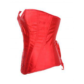 Women Boned Corset Sexy  Overbust Bustier Bodyshaper Top - RED S