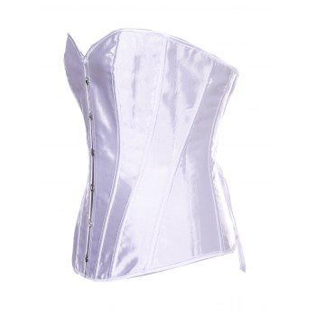 Women Boned Corset Sexy  Overbust Bustier Bodyshaper Top - WHITE 2XL