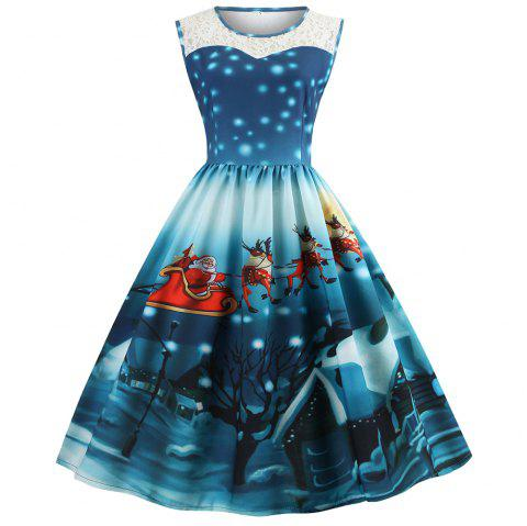 Christmas Dresses Womens.Womens Christmas Gifts Santa Claus Print Lace Retro Round Neck Sleeveless Swing Party Dresses