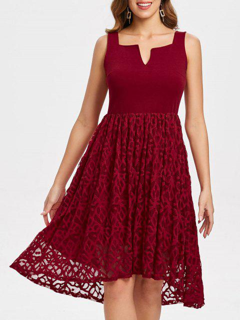 Women's  Summer Lace Patchwork With Sleeveless Fashion Dress - LAVA RED XL