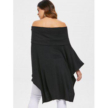 Women Fashion Pure Color Sexy Boat Neck Batwing Sleeve Irregular Knitwear Casual Loose Tops T-shirts - BLACK S