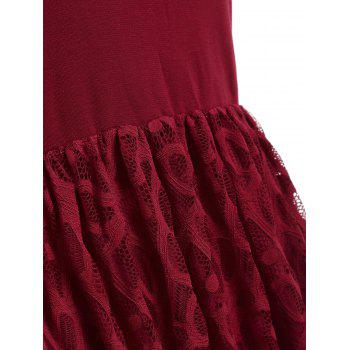 Women's  Summer Lace Patchwork With Sleeveless Fashion Dress - LAVA RED 2XL