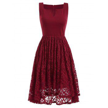 Women's  Summer Lace Patchwork With Sleeveless Fashion Dress - LAVA RED L