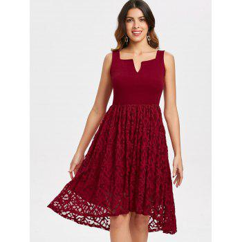 Women's  Summer Lace Patchwork With Sleeveless Fashion Dress - LAVA RED S