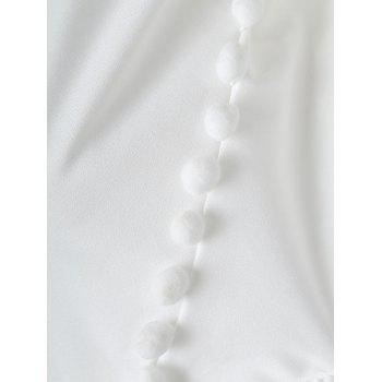 Chiffon Puff Sleeve Cold Shoulder Top - WHITE M