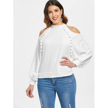 Chiffon Puff Sleeve Cold Shoulder Top - WHITE L