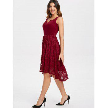 Women's  Summer Lace Patchwork With Sleeveless Fashion Dress - LAVA RED 4XL