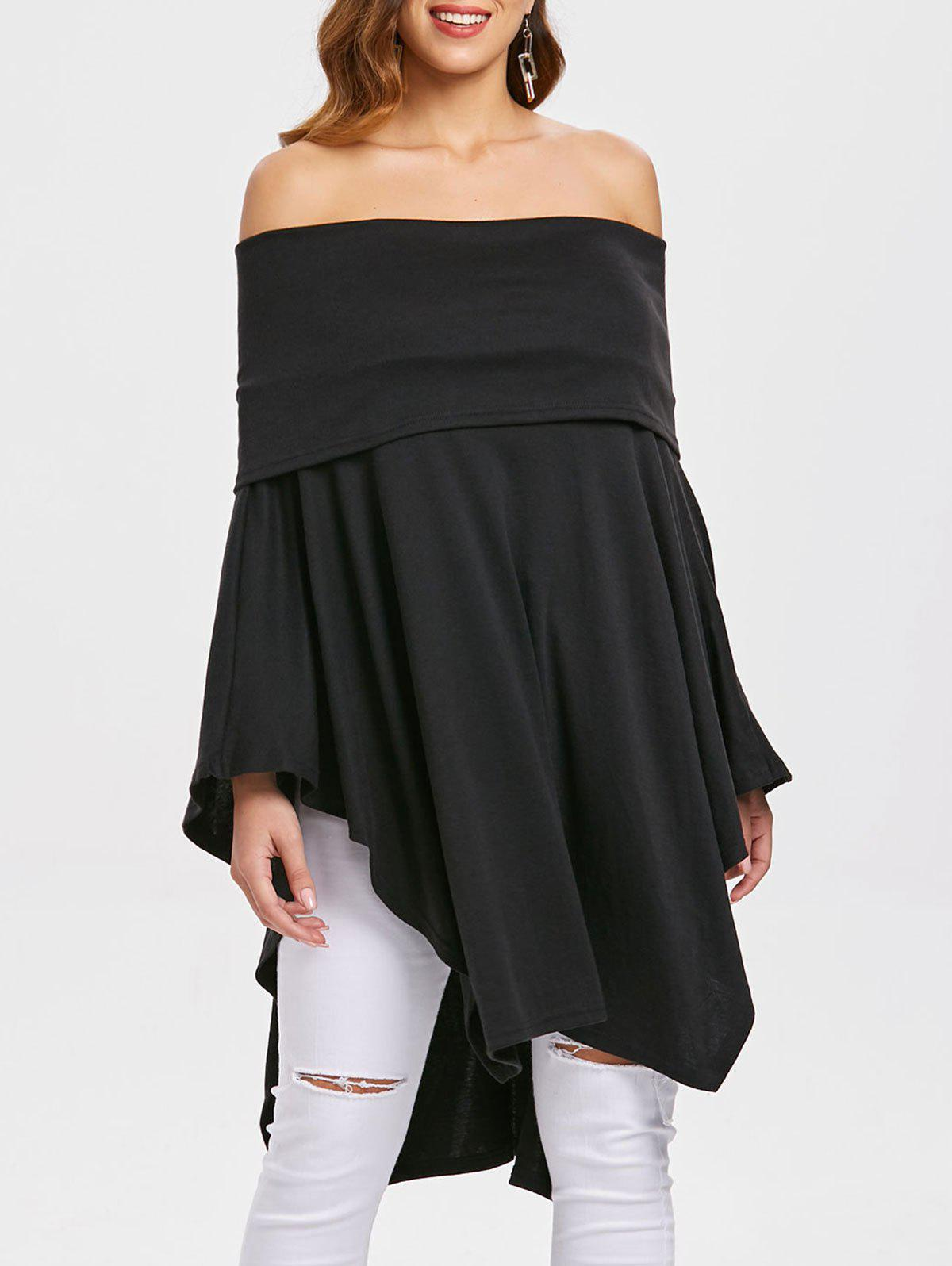 Women Fashion Pure Color Sexy Boat Neck Batwing Sleeve Irregular Knitwear Casual Loose Tops T-shirts - BLACK L
