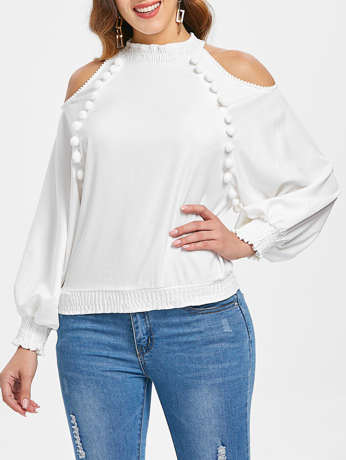 Chiffon Puff Sleeve Cold Shoulder Top - WHITE XL