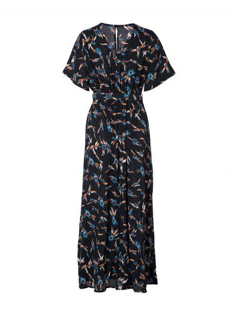 Women's V Neck Printed Sexy Chiffon Dress - MEDIUM FOREST GREEN L
