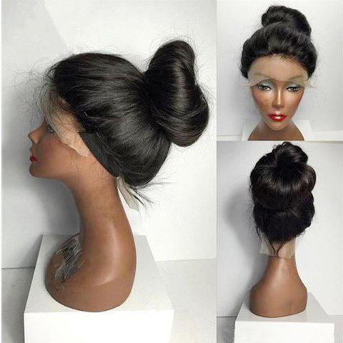 Women Long Ponytails Straight Lace Frontal Synthetic Wig - BLACK
