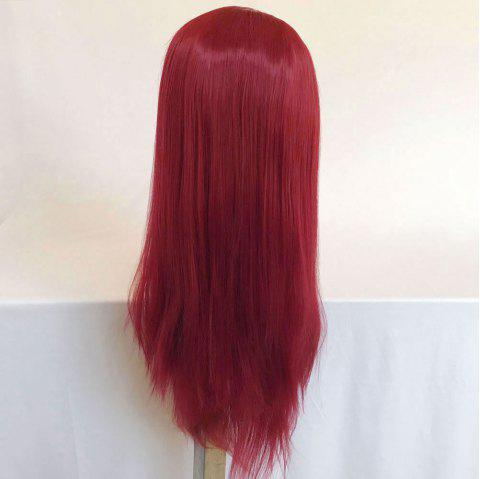 Women Long Ponytails Straight Lace Frontal Synthetic Wig - RED WINE