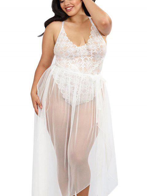 Women Sexy Halter Two Piece Of Babydoll Lingeries - WHITE L