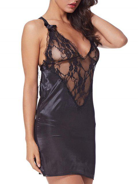 Splicing Imitation Silk Fabrics sleep skirt Babydoll Lingerie - BLACK L