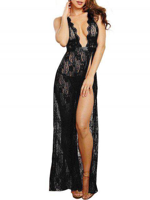 Deep V Long Style Sleeping Skirt Sexy Babydoll Lingerie - BLACK ONE SIZE