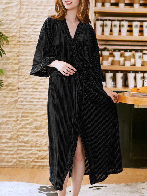 Women Thin  Velvet  Night-Robe Long Homewear Sleepwear - BLACK ONE SIZE