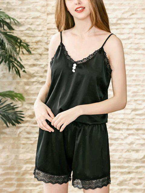 Women Two Piece Sleepdsuits Silk Pajamas Short Set Homewear - BLACK L