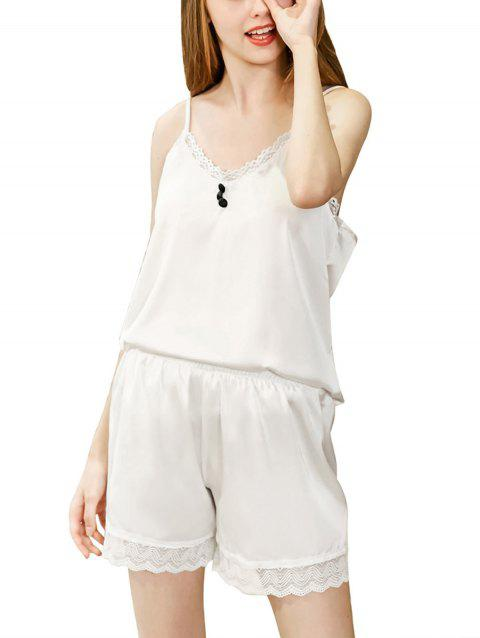Women Two Piece Sleepdsuits Silk Pajamas Short Set Homewear - WHITE L