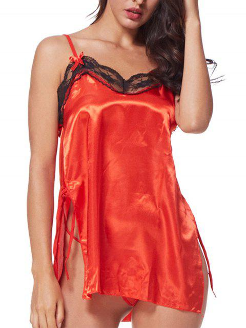 Plus Size Open a Fork to Sleepdress Babydoll Lingerie - RED L