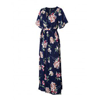 Women's V Neck Printed Sexy Chiffon Dress - BLUE ORCHID S