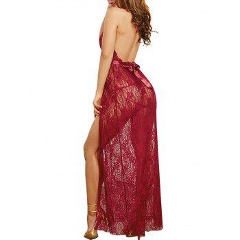 Deep V Long Style Sleeping Skirt Sexy Babydoll Lingerie - RED WINE ONE SIZE