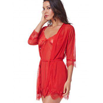 Three Pieces Lace Bathrobe Sexy Sleepdress Babydoll Lingerie - RED L