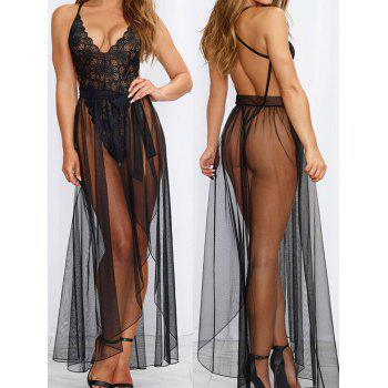 Women Sexy Halter Two Piece Of Babydoll Lingeries - BLACK 2XL