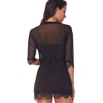Three Pieces Lace Bathrobe Sexy Sleepdress Babydoll Lingerie - BLACK L