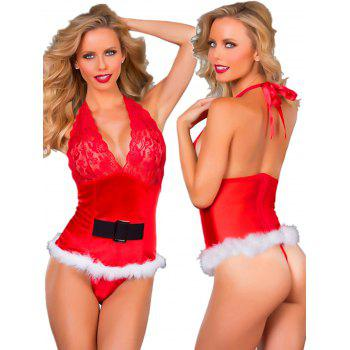 Women Christmas V Neck Sleepsuits Babydoll Lingerie - RED ONE SIZE