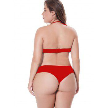 Women Hollow Out PLUS Size Sleepsuits Babydoll Lingeries - RED 2XL