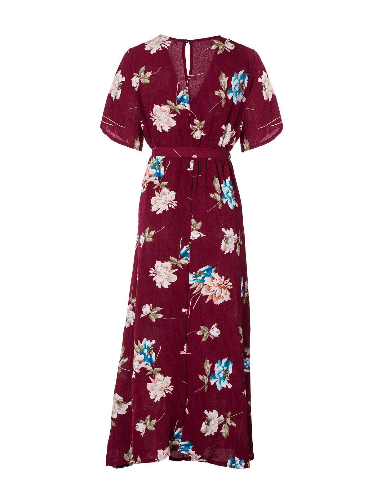 Women's V Neck Printed Sexy Chiffon Dress - RED WINE M
