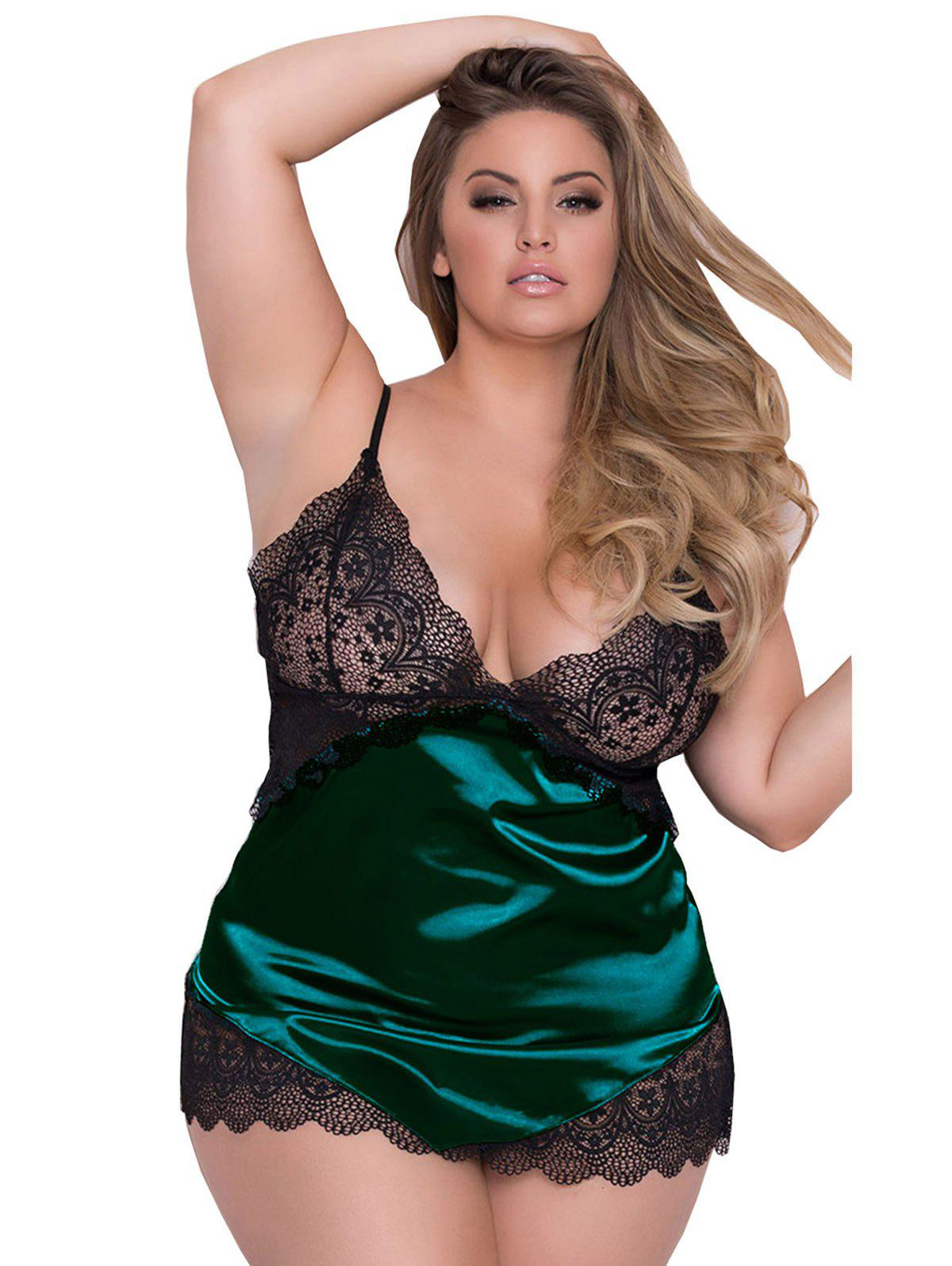 Adjustable Shoulder Straps Plus Size Babydoll Lingeries - GREEN 3XL