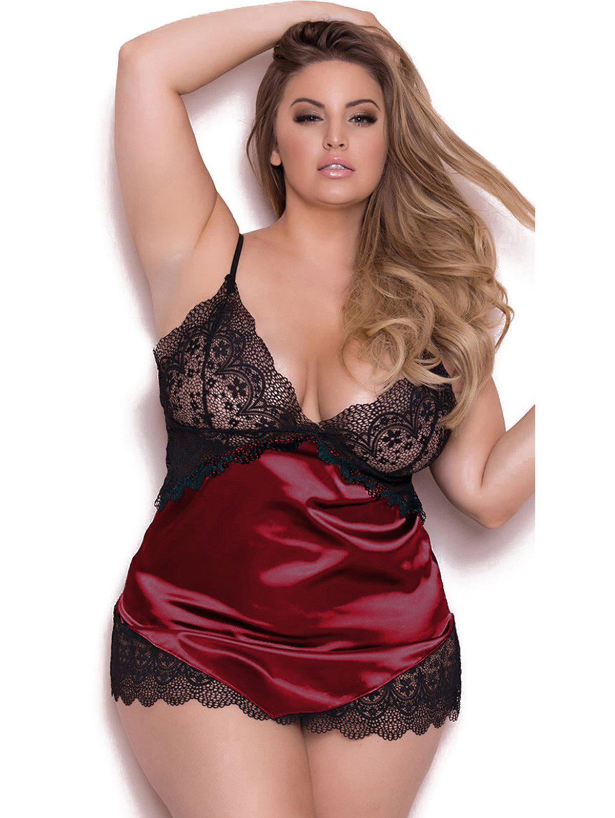 Adjustable Shoulder Straps Plus Size Babydoll Lingeries