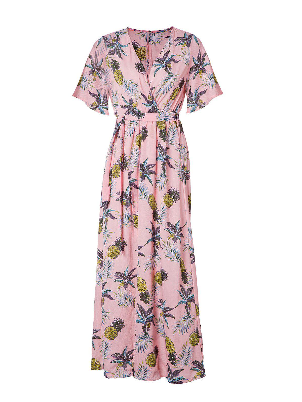 Women's V Neck Printed Sexy Chiffon Dress - LIGHT PINK M