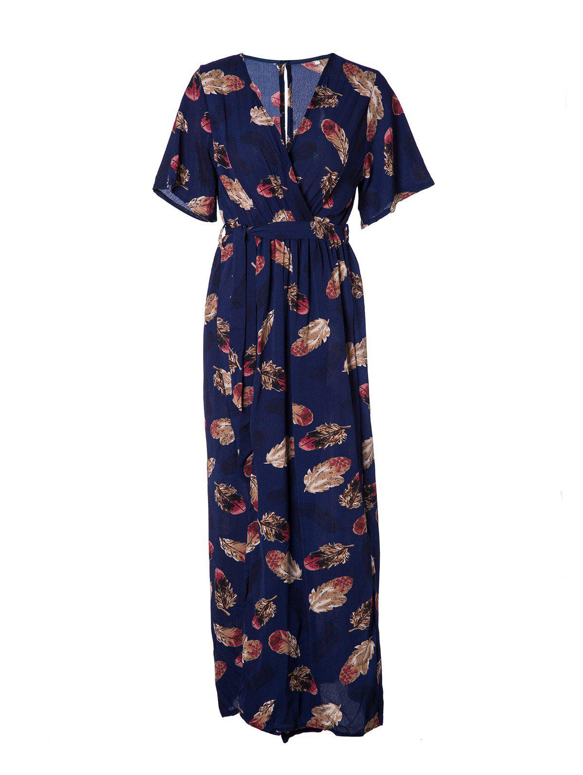 Women's V Neck Printed Sexy Chiffon Dress - DEEP BLUE L