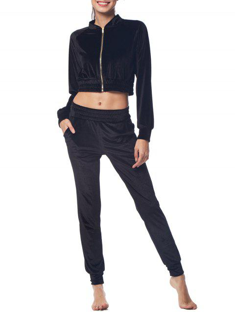 Belleziva Women Two Piece Velvet Tracksuit Long Sleeve Suits - BLACK L