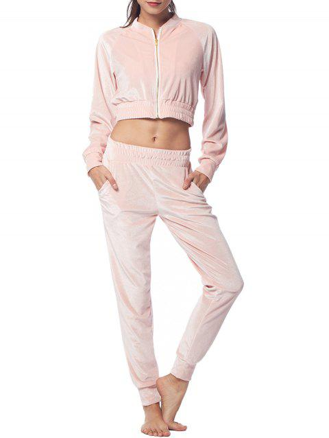 Belleziva Women Two Piece Velvet Tracksuit Long Sleeve Suits - PINK S