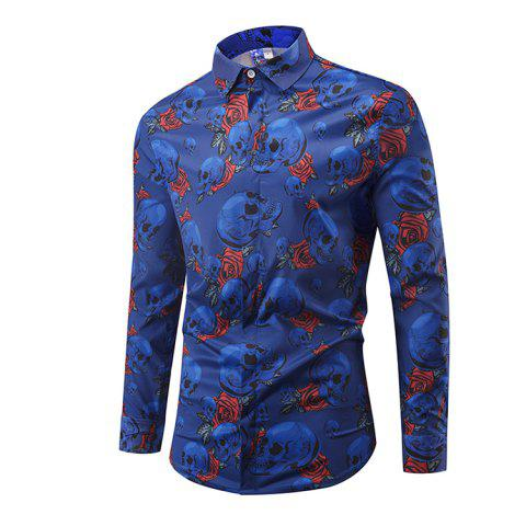 Particular Skull Printing Long Sleeve Shirts - 005 XL