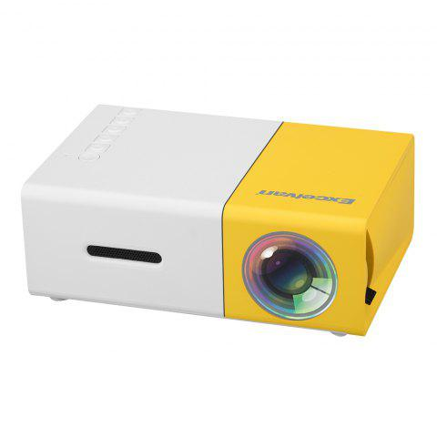 Excelvan YG300 Home Mini Projector 320 x 240P Support 1080P AV USB SD Card HDMI Interface - YELLOW WHITE US PLUG