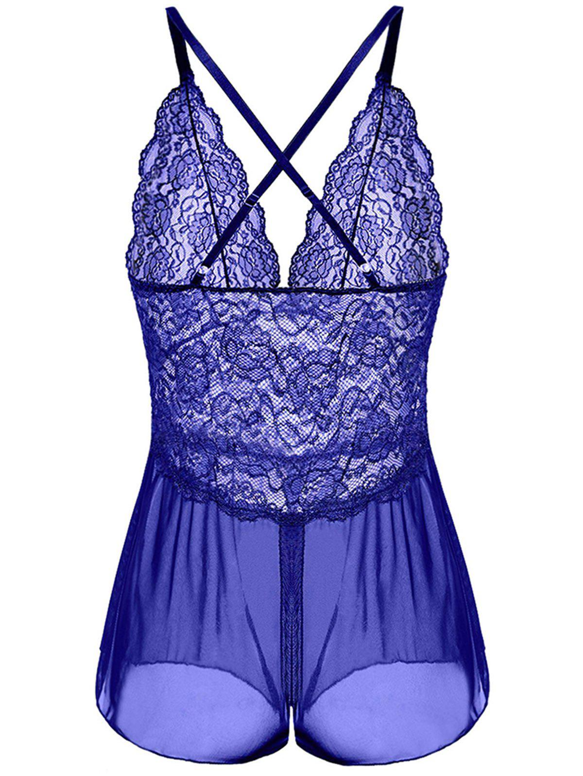 V-neck Sexy One Piece Babydoll Mesh Chemise Sleepwear - BLUE ORCHID 3XL