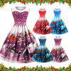 Womens Christmas Gifts Santa Claus Print Lace Retro Round Neck Sleeveless Swing Party Dresses - OCEAN BLUE 2XL