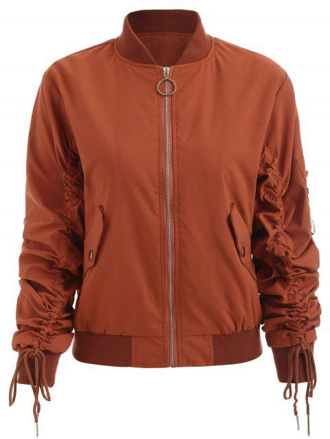 Bomber Loose Baseball Coats - SUGAR HONEY S