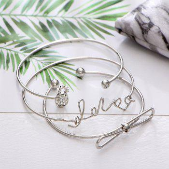 4pcs Braclet Set Stainless Steel Crystal Braclet Star Moon Love Wedding Cuff Bangle Bracelet - SILVER