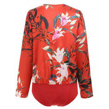 Floral Wrap Front Ruffle Loose Top - RED L