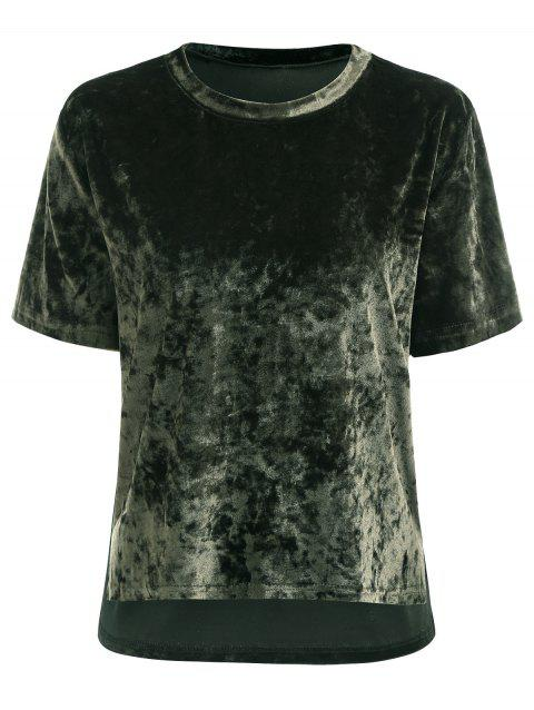 Velvet Round Neck Short Tops - ARMY GREEN XL