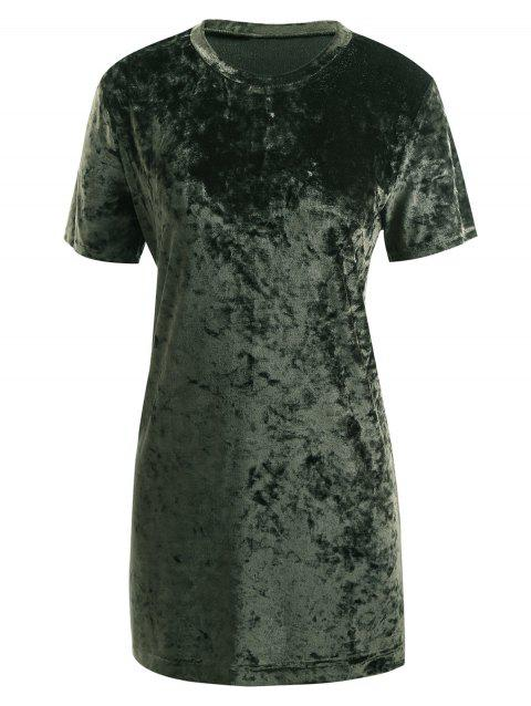 Gamiss Womens Crushed Velvet O Neck Casual Short Sleeve Loose T-Shirt Dress - ARMY GREEN 2XL